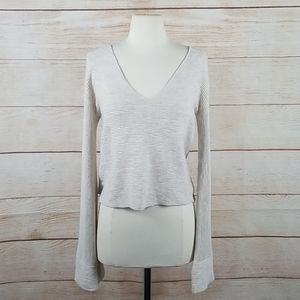 Free People Ribbed Starman Pullover V Neck Sweater